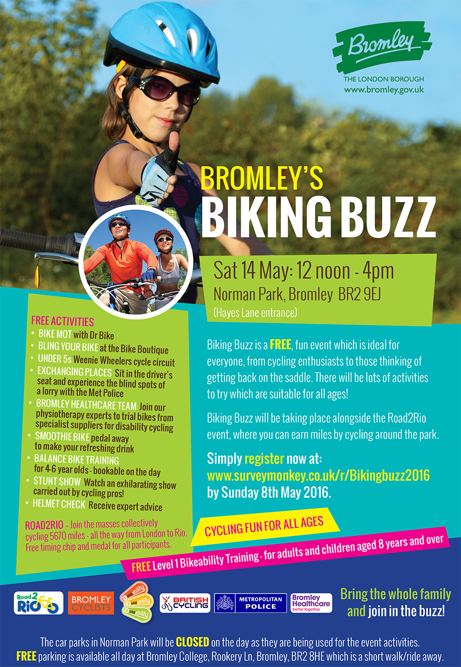 Bromley Council Biking Buzz poster 14 May 2016